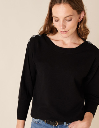 Monsoon Button Shoulder Knit Jumper with Recycled Nylon Black