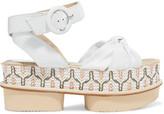 Paloma Barceló Rosita Leather And Woven Raffia Platform Sandals