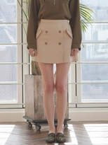 Wardrobe Double Button Mini Skirt_beige