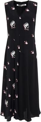 McQ Paneled Printed Crepe De Chine Midi Dress