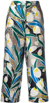Rochas floral print cropped trousers - women - Silk/Polyester - 40