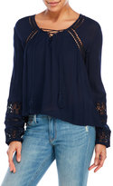 Patrons Of Peace Lace-Up Hi-Low Peasant Blouse