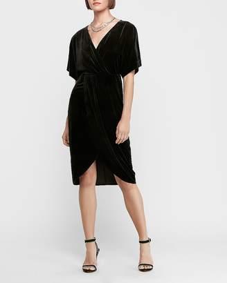 Express Velvet Kimono Sleeve Wrap Midi Dress
