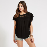 Apricot Black Embroidered Lattice Panel T-Shirt
