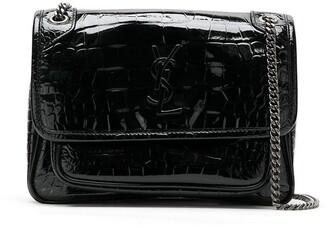 Saint Laurent Embossed Crocodile Leather Bag