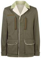 Valentino Slogan Shearling Military Jacket