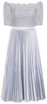 Dorothy Perkins Womens *Chi Chi London Blue Lace Bardot Midi Skater Dress, Blue