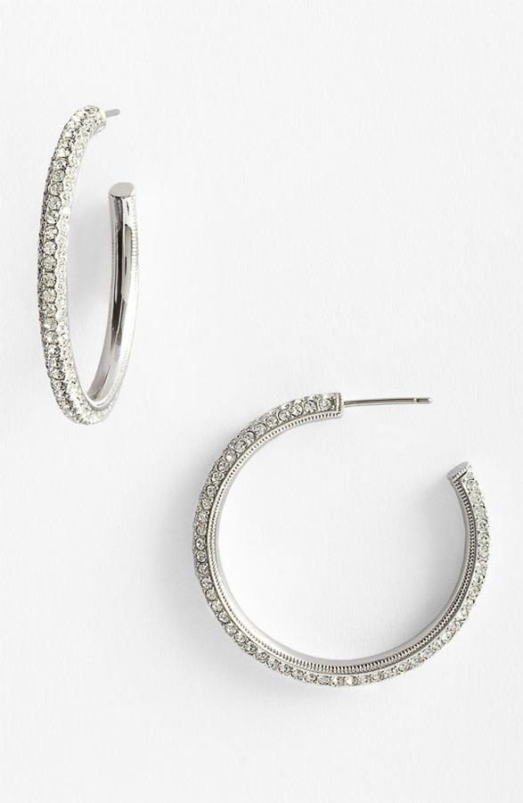 Nadri 'Small Pave Bombe' Hoop Earrings