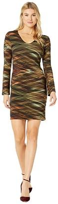 Karen Kane V-Neck Sheath Dress (Print) Women's Dress