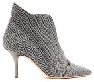 Malone Souliers Cora Herringbone Wool Ankle Boots - Womens - Grey
