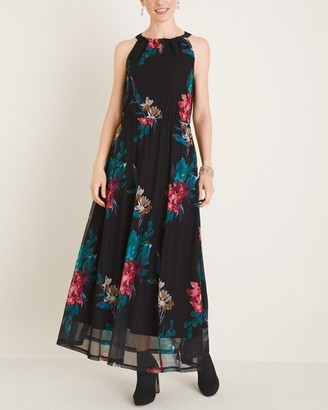 Chico's Printed Mesh Halter Maxi Dress