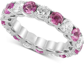 Effy Certified Ruby (2-9/10 ct. t.w) & Diamond (2-1/5 ct. t.w.) Eternity Band in 14k White Gold(Also Available In Sapphire, Emerald, and Pink Sapphire)