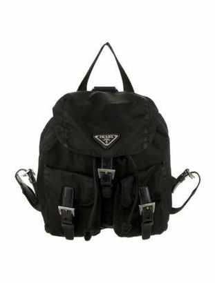Prada Leather-Trimmed Tessuto Nylon Backpack Black