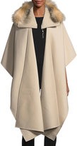 Mackage Helinax Hooded Wool Wrap Cape w/ Fur Trim