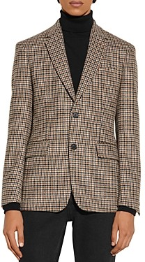 Sandro Fox Wool Houndstooth Suit Jacket