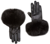 Dena Touch Tech Genuine Fox Fur Trim Leather Gloves
