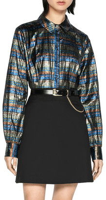 Cue Metallic Check Blouson Sleeve Shirt