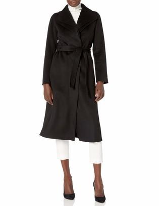 T Tahari Women's Maxi Double face Wool Coat with Optional self tie Belt