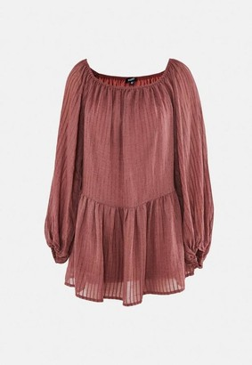 Missguided Rust Textured Flared Sleeve Bardot Swing Dress