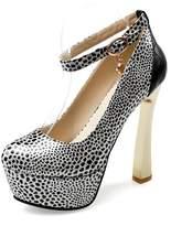 Mini Women's High Heeled Ankle Strap Round-toe Leopard Print Stiletto Pumps(11.5 )