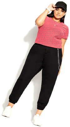 City Chic Cheeky Stripe Top - red