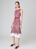 Oscar de la Renta Graphic Leaves Cotton-Canvas Flared Pencil Dress