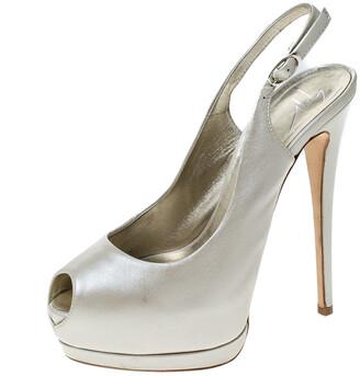 Giuseppe Zanotti Guiseppe Zannotti Cream Leather Peep Toe Slingback Platform Sandals Size 37