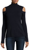 Magaschoni Cold-Shoulder Cashmere Turtleneck, Midnight