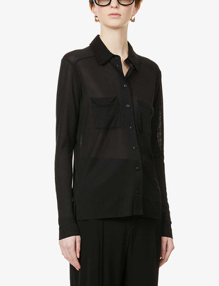 Reiss Nancy patch-pocket knitted shirt