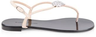 Giuseppe Zanotti Embellished Suede Thong Sandals