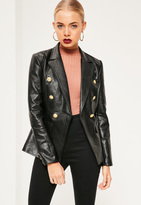 Missguided Black Faux Leather Military Blazer