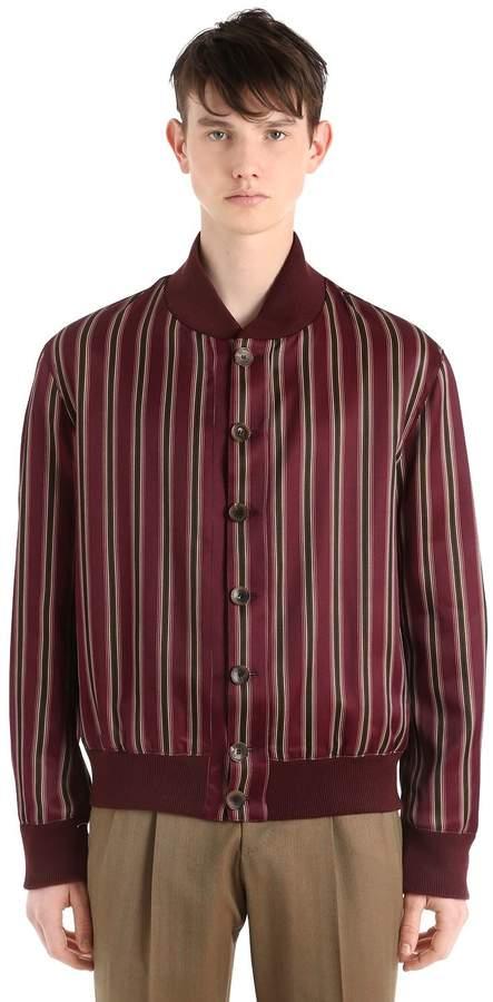 Etro Striped Cotton Blend Satin Bomber Jacket