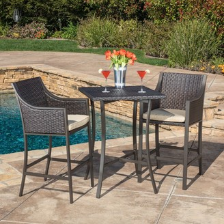 Christopher Knight Home Riga Outdoor 3-piece Wicker Bistro Bar Set with Cushion
