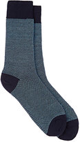Barneys New York Men's Birdseye-Knit Cotton-Blend Mid-Calf Socks