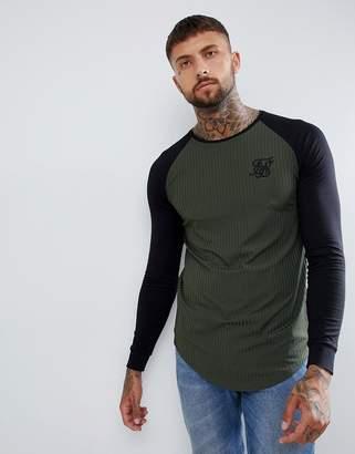 SikSilk raglan t-shirt in khaki rib-Green