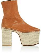 Balenciaga Women's Leather Platform Espadrille Ankle Boots-TAN, BEIGE