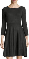 Neiman Marcus Ribbed Grommet-Laced Dress, Charcoal