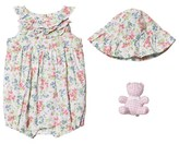 Ralph Lauren Multi Floral Frill Bubble, Hat and Bear Gift Set