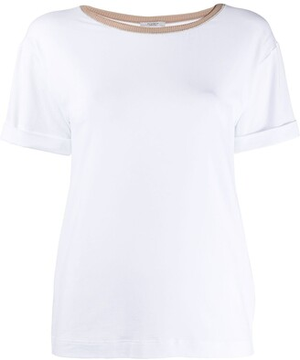 Peserico contrasting collar T-shirt