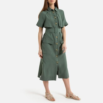 La Redoute Collections Button-Through Midi Shirt Dress with Belt
