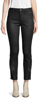 Driftwood Coated Embroidered High-Rise Jeans