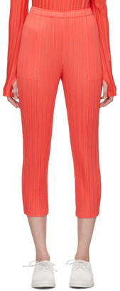 Pleats Please Issey Miyake Red Pleats Slim Trousers