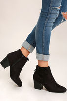 Soda Sunglasses Treat You Right Black Suede Ankle Booties