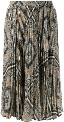 MICHAEL Michael Kors Pleated Geometric Print Midi Skirt