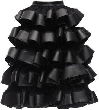 Noir Kei Ninomiya Ruffled Satin & Faux Leather Maxi Skirt