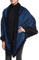 La Fiorentina Asymmetric Cashmere Wrap w/ Rabbit Fur, Dark Blue