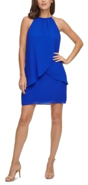 Jessica Howard Petite Halter Chiffon Sheath Dress