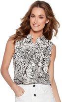 M&Co Palm print sleeveless linen shirt