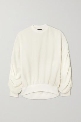 Twenty Montreal Sunnyside Oversized Ruched Cotton-blend Terry Sweatshirt - White