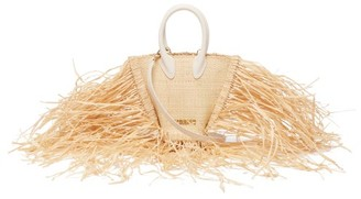 Jacquemus Baci Fringed Straw And Leather Bag - Womens - Beige